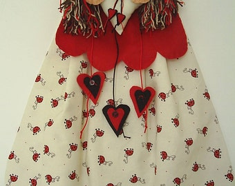 Angel nightdress case,Ladybird and red felt pyjama holder.fairy princess nightdress case,fantasy angel in red and black,handmade by Fraline