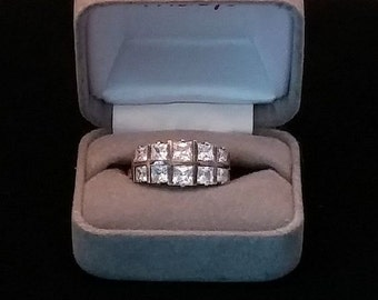 REDUCED Ring Sterling Silver w Ten Sparkling Princess Cut CZ's Gold Wash