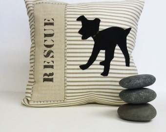 Rescue Dog Silhouette Pillow, Stripe and Felt Decorative Rescue Dog Pillow, Beige Stripe with Felt Dog Silhouette Pillow, Home Decor Gift