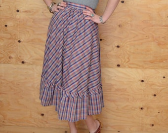 Vintage 70's Skirt A-Line Cut in Blue & Red Plaid SZ Small Extra Small