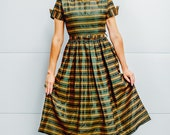 Vintage Hunter Green Taffeta 1950's Dress with Orange Stripes, Belt, Cuffed Sleeve and Peter Pan Collar