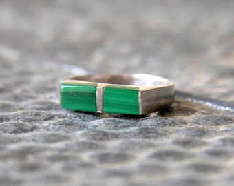 Vintage Malachite Ring Silver Modernist Minimalist Mexico Size 6.5