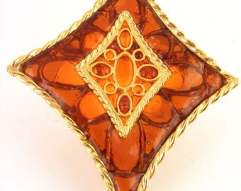 Vintage Brooch Brown Resin Kite Shaped Amber Stained Glass