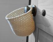 Extra Deep Cream Off White Hanging Storage Basket Office Organizer Doorknob Catchall Crocheted Decor Supply Holder