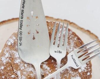 Husband & Wife WEDDING Cake forks with Forever Starts Today (TM) Personalized Vintage Wedding Cake Server - Hand Stamped SET
