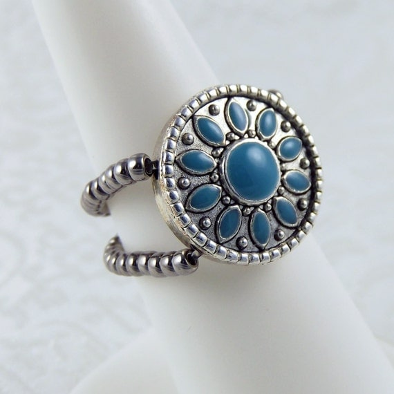 Turquoise Sunflower Stretch Ring - Stretch Ring - Turquoise Ring - Double Band Ring - Flower Ring - Comfortable Ring