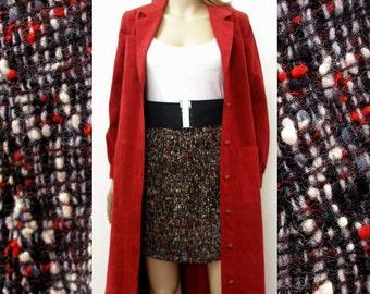 Vintage 1960s Mini Skirt / 60s Black Red Tweed Mini Skirt / Extra Extra Small