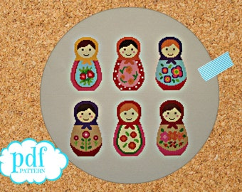 Matryoshka cross stitch pattern. Russian dolls. Needlepoint tapestry sampler. Nesting dolls. Babushka easy x stitch. Kids nursery room decor