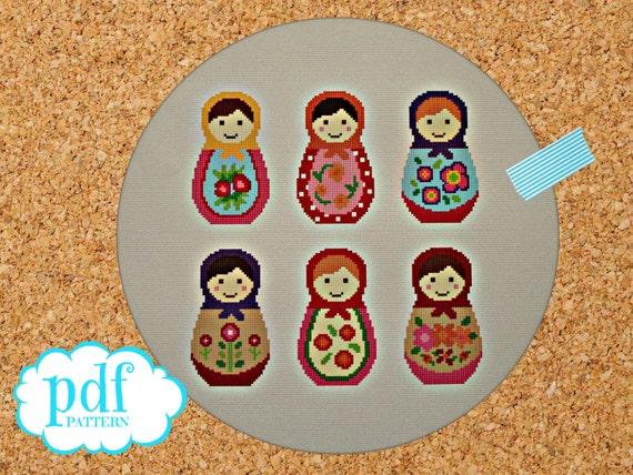 Matryoshka cross stitch pattern. Russian dolls. Needlepoint tapestry sampler. Nesting dolls. Babushka easy x stitch. Kids nursery room decor