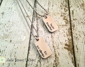 Hers Forever His For Always His and Hers Mini Dog Tag Set of 2 Necklaces  Couples Jewelry Stainless Steel Silver Boyfriend Girlfriend Mr Mrs