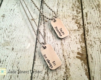 Hers Forever His For Always His and Hers Mini Dog Tag Necklace Set Couples Jewelry Stainless Steel Silver Boyfriend Girlfriend Mr. and Mrs.