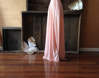 """Ready to Ship- Standard Size, 50"""" Length- Vintage Conch Shell Peach Long Octopus Infinity Wrap Gown by Coralie Beatrix"""