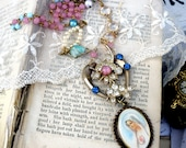 Pastel,  Vintage Jeweled Heart with Vintage Madonna, Crystals and Pearls and Pastel Altered Assemblage Necklace