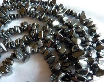 Hematite chips 16 inch strands, Lots of 3