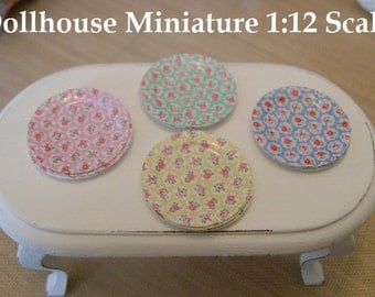 DOLLHOUSE MINIATURE - Set of 8 Floral Glossy Picnic Paper PLATES - 1:12 Scale