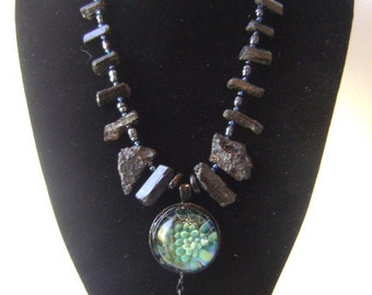 From The Depths --unique hand blown glass pendant with tektite black tourmaline and a sharks tooth OOAK
