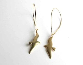 brass seagull earrings