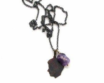 silhouette & amethyst necklace / mens necklace / rustic jewelry / raw amethyst / vintage boys silhouette on dark chain