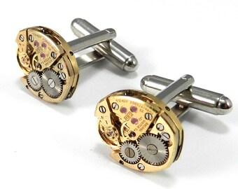 WEDDING Cufflinks, Mens INDUSTRIAL Steampunk Cufflinks, GOLD Watch Movement, Bulova, Steampunk Jewelry by Compass Rose Design