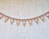 ENGAGED Hessian Burlap Wedding Celebration Engagement Party Banner Bunting Decoration white hearts white text
