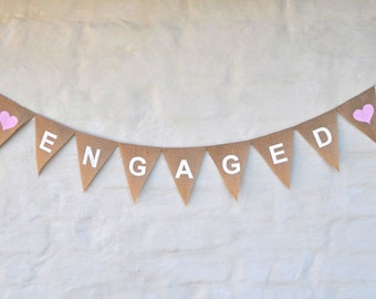 ENGAGED Hessian Burlap Wedding Celebration Engagement Party Banner Bunting Decoration white hearts white text