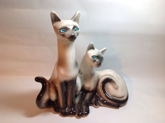 Siamese Cat Retro Lamp With Faceted Glowing Eyes TV Lamp - Lane Mfg Co. 1950s Mid Century Vintage Rockabilly Lighting