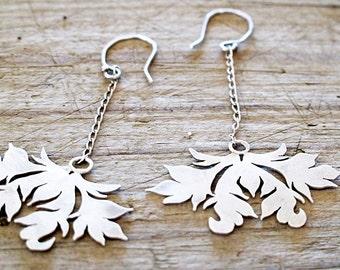 Dangle Earrings Custom Order Victorian Wreath Damask silver Recycled eco Friendly Sterling Earrings Hand cut Damask boho chandelier Earrings