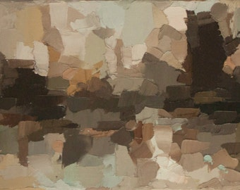 Fall Reflection - Original Oil Painting in browns, beiges, warm earthy tones (59x20cm - app. 23.2x7.87 in)