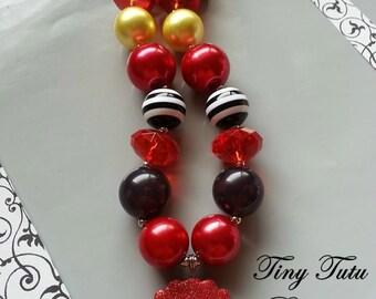SANTA BELLY Chunky Necklace- Chunky bubblegum necklace, Girls chunky necklace, Gumball necklace, Bottle Cap necklace