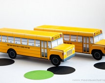 School Bus Favor Box : DIY Printable Yellow Bus Gift Box | Back to School | Bus Driver Favor | Wheels on the Bus Party - Instant Download