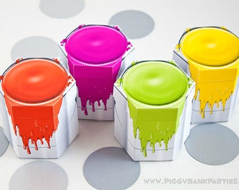 Paint Can Favor Box Set - NEON : DIY Printable Painting Party Gift Box   Art Party   New Home   Construction - Instant Download