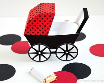 Modern Baby Carriage Favor Box - Red & Black : DIY Printable Baby Buggy Gift Box | Pram | Ladybug | Baby Shower Favor - Instant Download