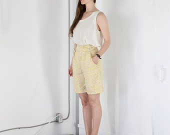 ON SALE Light Yellow High Waisted Short / Vintage Abstract Summer Shorts / Retro Pleated Shorts