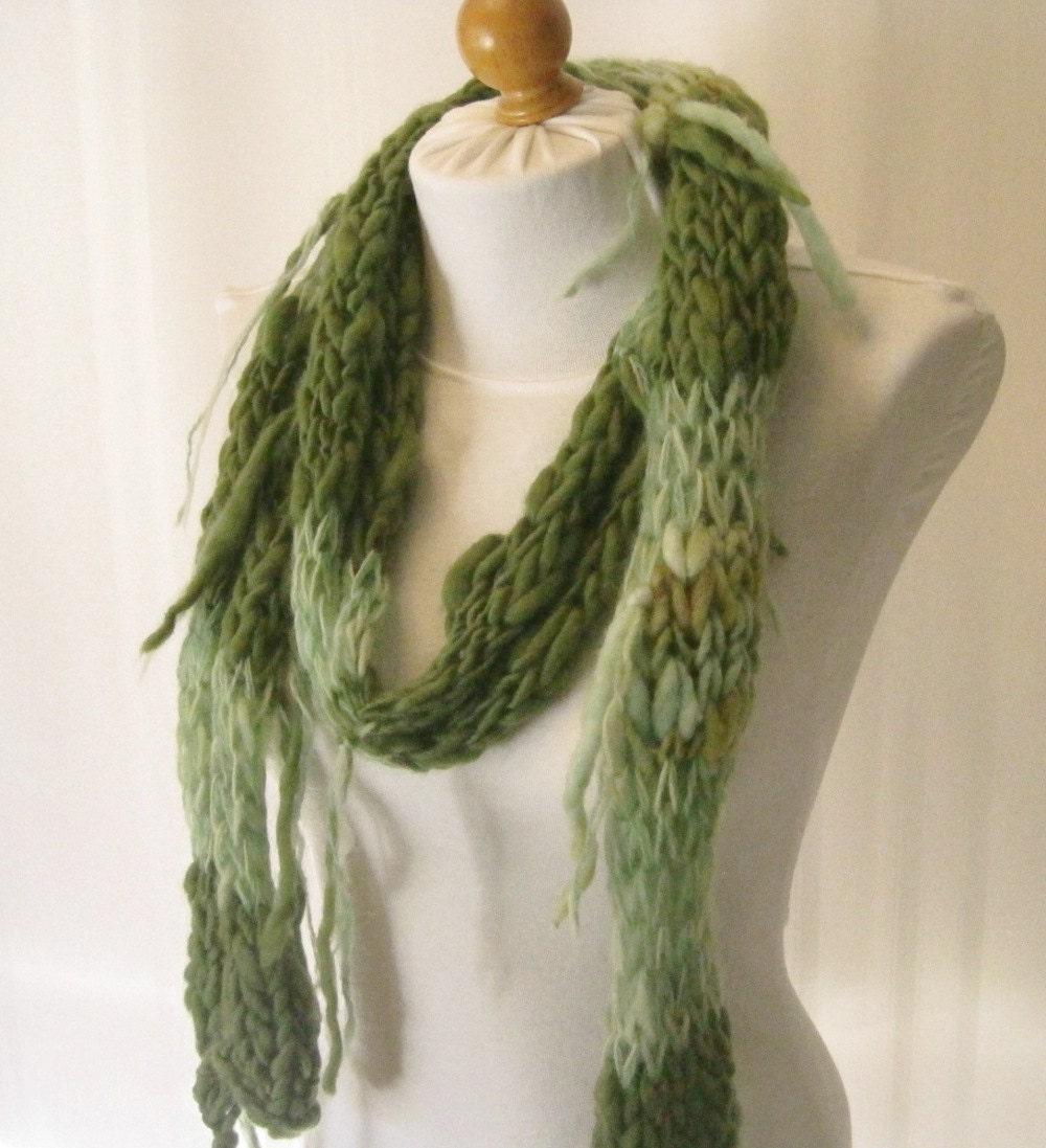 green wool scarf rustic handspun scarf alpaca scarf
