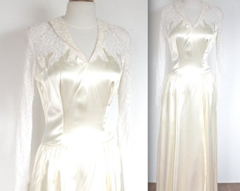 Vintage 1940's Dress // 40s Ivory Satin and Lace Wedding Dress // 40s Bride // DIVINE