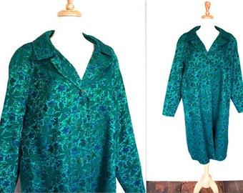 Vintage 1950s Coat // 50s 60s Teal Chintz Brocade Evening Glamour Coat