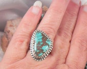 Turquoise and Sterling Silver Native American  Ladies Ring