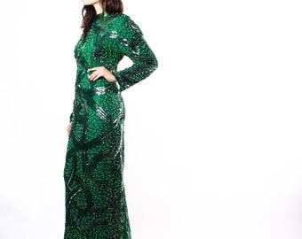 1960s Emerald Green Silk Beaded Gown  - Judith Ann Dress  - Designer Vintage Gown - The  Antrim Gown - 6130
