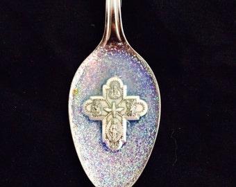 Cross - spoon necklace - purple