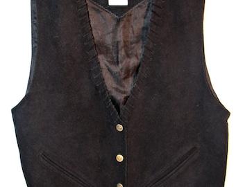 Vintage Black Suede Leather Vest by Mona Mode Western Style Vest Nice Detailing