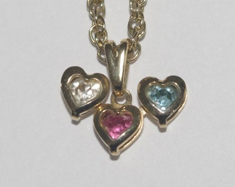 Vintage - Trilogy of Hearts - 18k Gold Plated - pendant and chain