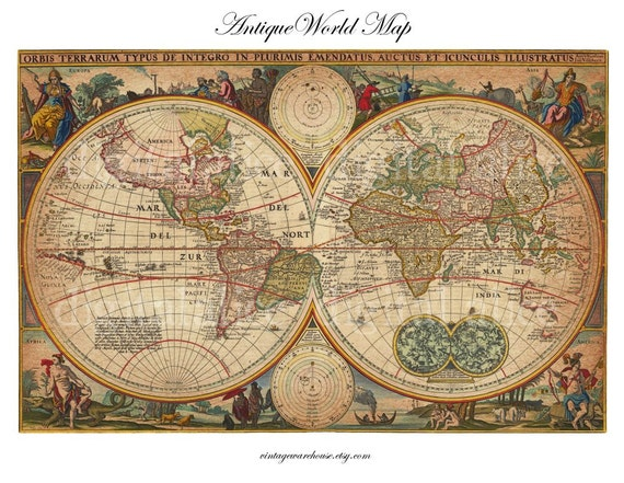Antique circa 1670 world map instant download digital antique circa 1670 world map instant download digital printable 85 x 11 diy print as many as you like gumiabroncs Gallery