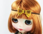 Sparkly gold bow headband for Blythe dolls - Blythe hair accessory - trendy Blythe doll accessory - Gold and Brown