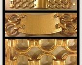 Vintage gold 1950s Hollywood regency mid century Monet cuff chain link bracelet