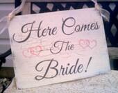 Wedding Sign Here Comes The Bride Sign with Hearts gray & pink wedding Beach Wedding, Rustic Wedding, Woodland Wedding