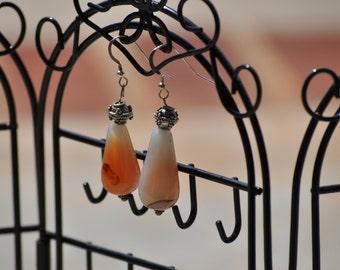 Agate and Bali Silver Drop Earrings