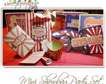 Vintage Fair, Fete, Carnival or Circus Mini Showbag Set - Printable - Customised - Downloadable