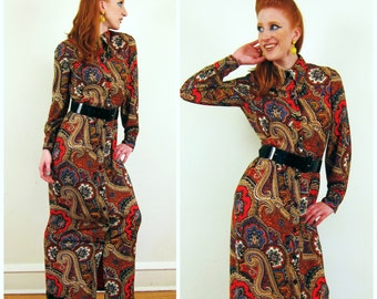 Vintage 1970s Maxi Dress in Paisley Print / 70s Graphic Psychedelic Print Shirt Dress by S.Howard Hirsh / Small