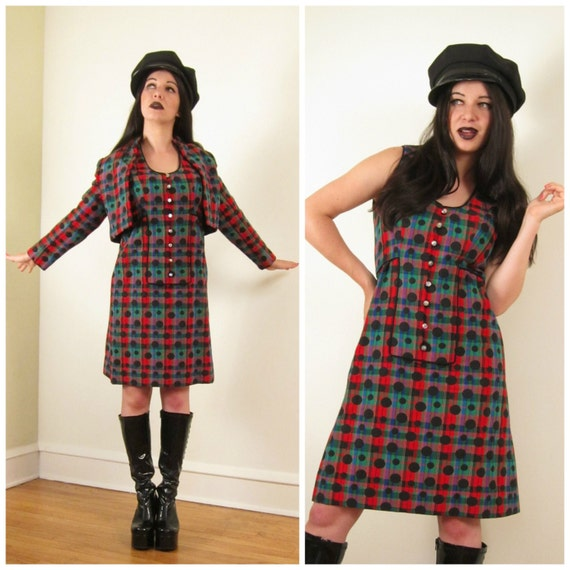 Vintage 1960s Plaid Dress and Jacket Set / 60s Mod Shift and Blazer Red Green Black Polka Dot  Print / Small