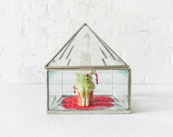 Court Queen With Quartz Crystal Skull - Beveled Glass Pyramid House - Antique Hand Painted German Bisque Doll - Crushed Red Glass Heart